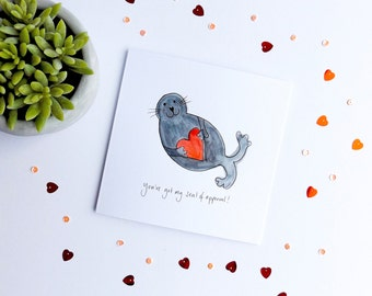 Seal of approval anniversary card. Anniversary card. Pun anniversary card. Seal anniversary card. Funny anniversary card.