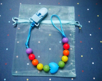 Rainbow Pacifier clip // Dummy clip // Silicone Pacifier Clip // Dummy chain // Pacifier holder // Silicone teether