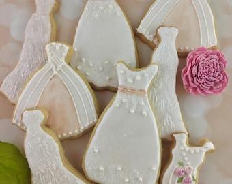 Wedding Dress Cookies, Favors, Bridal Shower