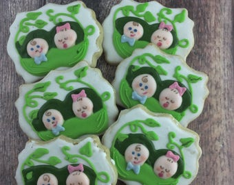 Two Peas in a Pod Cookies, Twins Cookies, Peas Cookies, Baby, Shower Cookies