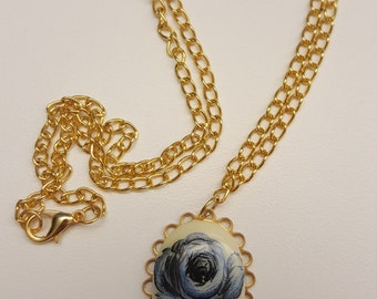 Blue Cameo Flower Necklace