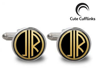 Great Gatsby Style Cufflinks, Custom Personalized Cufflinks, Monogram Cufflinks, Wedding Cufflinks, Initial Cufflinks, Groom Cufflinks