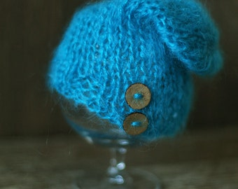 Newborn Hat, Turquoise Knitted Mohair Baby Boy Hat, Knit baby hat, Photo prop, Shower gift, Hat with buttons Photography ,Beanie