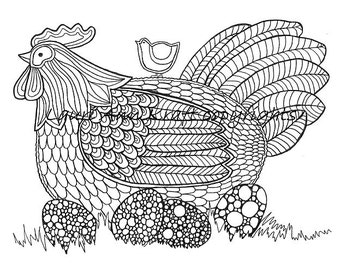 Chicken Eggs Hen Farm Country Printable Adult Coloring Book Page Instant Download Zentangle PDF Kraft Color