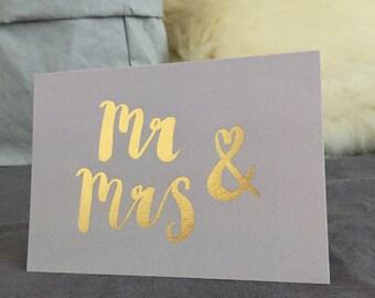 Mr & Mrs wedding congratulations card