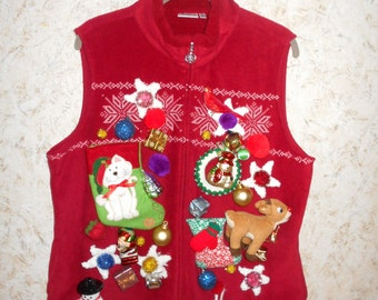 Crazy Goofy Ugly Christmas Sweater Party Vest Red Fleece Misfit Ornaments Tacky Gaudy Retro Zippered Front Womens Size XL