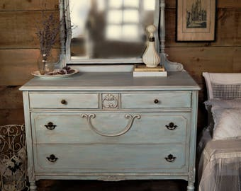 FREE SHIPPING| Antique blue shabby chic Gustavian dresser with mirror, chalk painted entryway dresser on castors, blue painted furniture