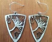 Ginkgo wood silhouette earrings