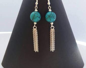 Turquoise and chain silver plated drop earrings