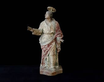 Antique Carved Wooden Polychrome Portugese Statue of St. John the Beloved /Antique Santos