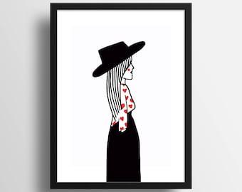 """Illustration """"Parisienne"""" A4 Print"""