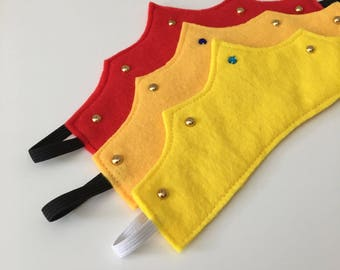 Red/yellow Felt pretend play crown with jewel and faux gold studs