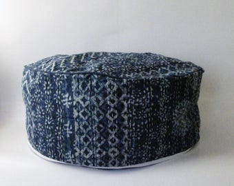 Pouf Floor Cushion Cover 24 Inch Diameter Round,Indigo Blue Kantha.
