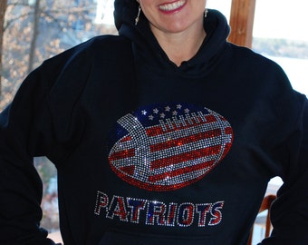 Patriots rhinestone bling hooded sweatshirt, hoodie,  all sizes,   S, M, L, XL, XXL, 3X, 4X, 5X