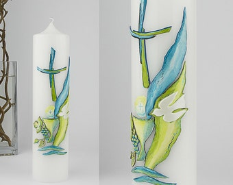 Christening, adult baptism, priest candle, priest anniversary, confirmation, confirmation, christening in blue green, wax decor E559