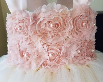 Blush flower girl dress,vintage dress,flower girl tutu dress,tulle flower girl dress,champagne flower girl dress,rustic flower girl dress