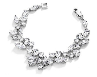 Elegant Design Floral Crystal Bracelet Earrings Set, Wedding Bracelet, Flower CZ cubic zirconia Bridal Jewelry Set, Bridesmaid Accessories