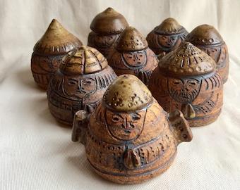 Vintage Mid Century Modern Pottery Monks