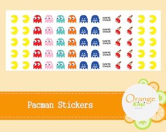 Pac-Man Stickers, Pacman Planner Stickers, Pacman Arcade Stickers