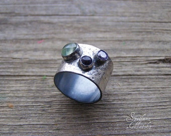 Silver Multistone ring, three stone ring, Silver wide band, Engagement ring, Three stone band, Silver boho ring, Statement band, Rustic band