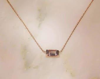 Emerald Cut Pink Morganite Necklace