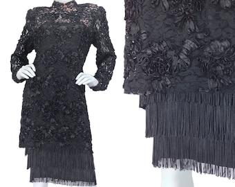 Black Lace Dress L XL, 30s Style Dress, Fringe Dress, Flapper Dress, Designer Dress, Little Black Dress, Evening Dress, RICHILENE, Size L XL