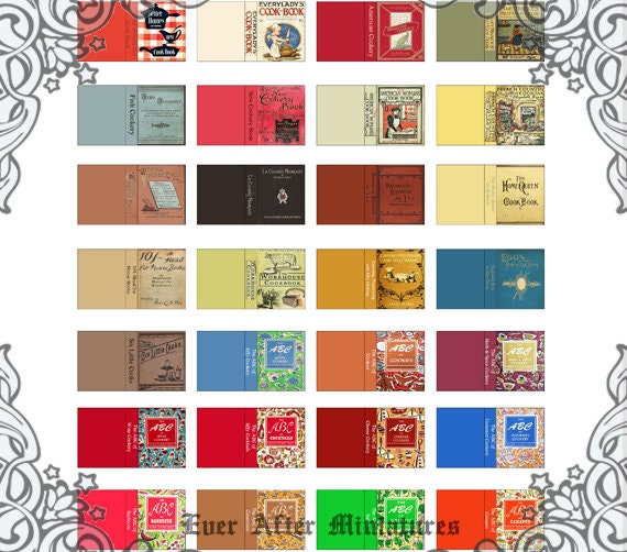 Book Cover Printables ~ Vintage cookbook dollhouse miniature book cover set
