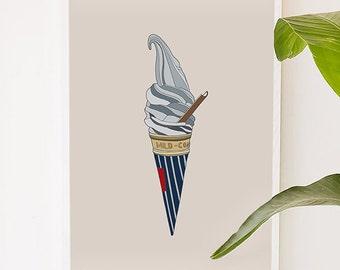 Gray Ice Cream, food, nursery, childrern, kitchen, illustration, digital, art print