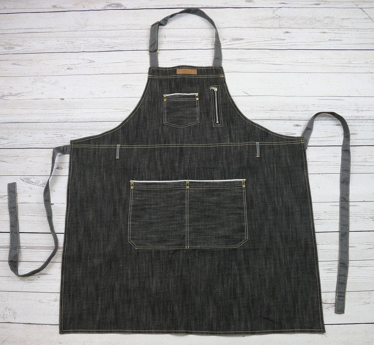 White apron party city - Premium Black Denim Barista Apron Bartender Apron Denim Bib Apron Jeans Apron Bbq Apron U331s