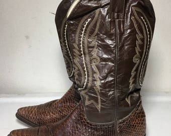 Bright brown color men's cowboy boots, from real python leather with embroidery vintage style western boots men's size - 11 US.