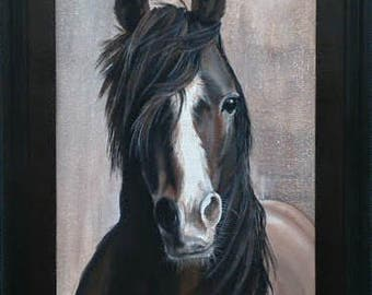 One Beautiful Horse, Stallion, Black Mane, Brown, Original Painting, Original Art