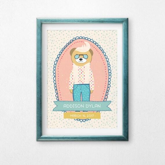 Printable Art, Hipster Cool Bear, Custom Name and Birthday, Hipster Bear, Children's Art, Nursery Decor, Digital Download Print