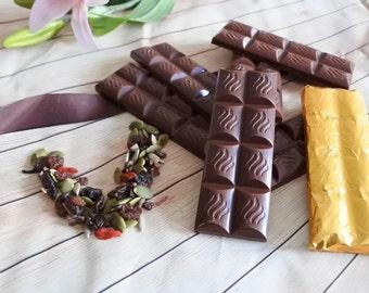 Vegan Chocolate Bar Trail Mix Snack Bar x6 (Gluten and Soya Free) , Organic