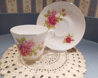 Fine Bone China Crown Trent Deep Pink Rose Tea Cup and Saucer from the 1980's Never Used!