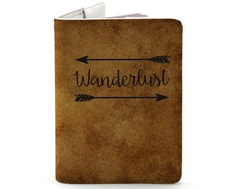 Wanderlust - Personalized Passport Cover/Holder - Travel Passport Cover - High Quality Handmade Leather | TG-PAS-003