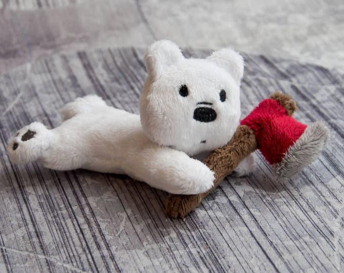 We Bare Bears - Ice Bear Plushie - Polar Bear Custom Plush - Stuffed Animal Toy - Cartoon - Plush Bear - Made to Order