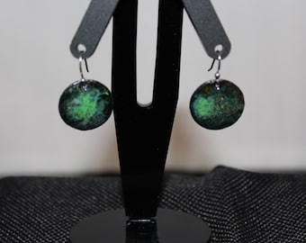 Green toned enameled earrings