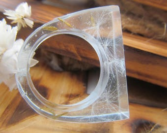 Nature ring Eco resin ring Terrarium ring Resin ring Dandelion ring Dandelion seeds Wish ring resin Flower ring Eco friendly Mysterious ring