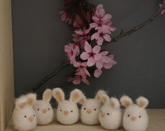 Bunny rabbit soft /little / felted wool/kawaii/cute