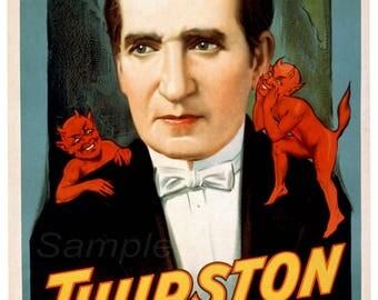 TM02 Vintage Thurston Magician Magic Poster Print