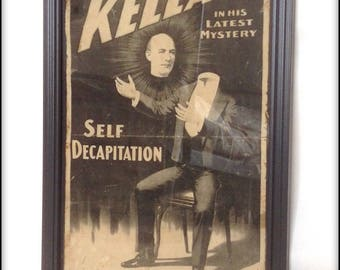 Aged reproduction Victorian magician Kellar poster in frame.