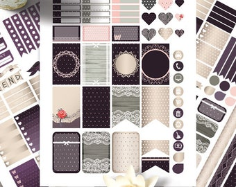 Lace Printable Planner Stickers, HAPPY PLANNER STICKERS Mambi Life Planner, Monthly-Weekly Sticker Kit Happy planner Kit, Instant download