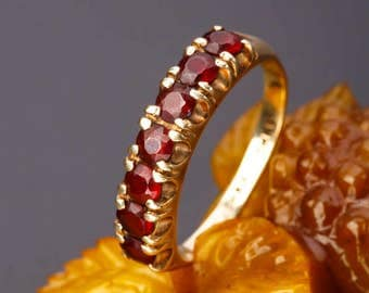 Sale -20%  Antique 8K Gold Garnet Ring. Vintage Victorian. Rose Cut Garnet. Antique Jewellery. Edwardian  gold ring.