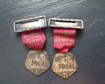 Associated Harvard Clubs Annual Meeting Name Pin Medals 1938, 1939