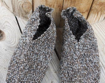 Wool Slippers, Handknit Wool shoes, Knitted Socks, Men shoes, women shoes, vintage knitted shoes, Bulgarian shoes