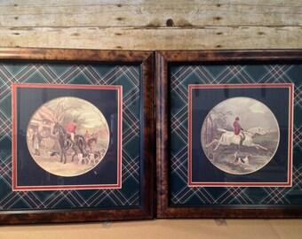 Vintage Set of 2 Fox Hunt Prints with gorgeous frames
