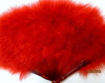 Gemenisse Red Feathered Fan, Max Factor Gemenisse Fan,  Sultry Boudoir Fan, Red Feather Fan, Geminesse Fragrance Fan by Max Factor