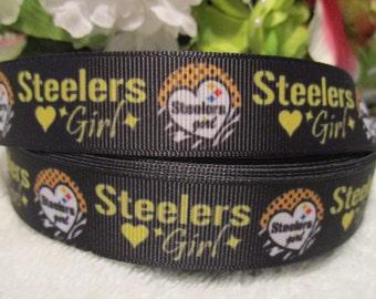 "3 Yards 7/8""  Steelers Girl Grosgrain Ribbon"