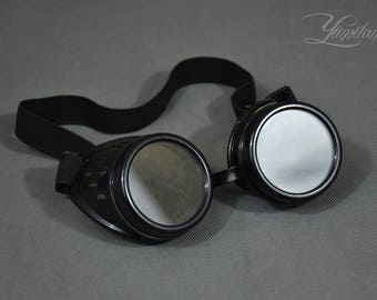 Black steampunk goggles with transparent lenses