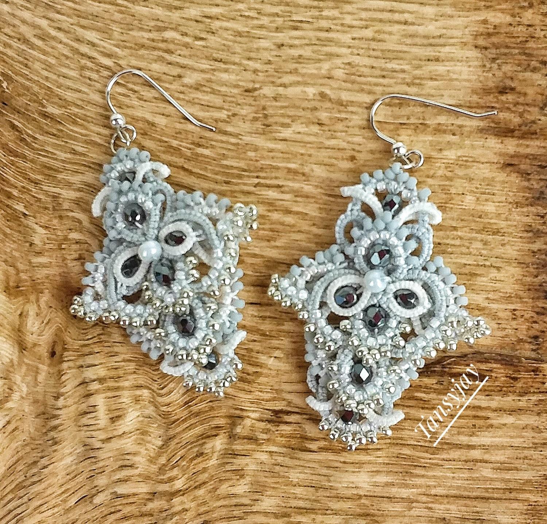 Statement Chandelier Earrings Handmade Tatting Lace Dangle Earrings Silver,  Grey, White Wedding Earrings Glamourous Jewellery Frivolite